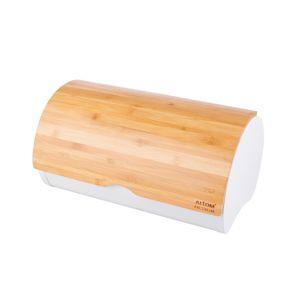 Altom Kenyértartó bambusz fedővel 37,7 x 24,3 x 20,4 cm, fehér