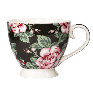 Altom Paris Rose porcelánbögre, 420 ml,, fekete