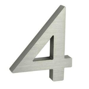 Alumínium házszám, 4, 3D, köszörült felület