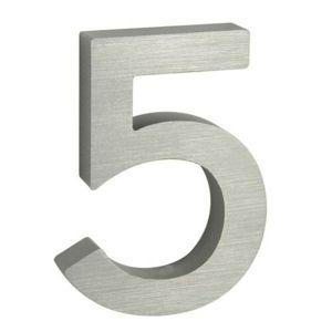 Alumínium házszám, 5, 3D, köszörült felület