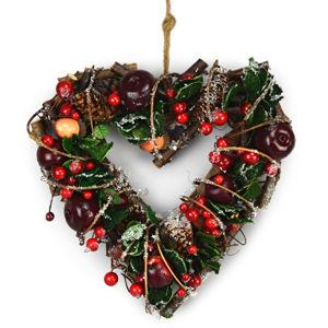 Automne őszi rattan szív dekoráció piros, 24 cm