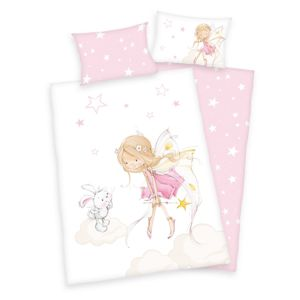 Gyermek pamut ágynemű kiságyba - Tündér ésnyuszi, 100 x 135 cm, 40 x 60 cm