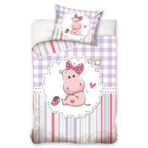 Gyermek pamut ágynemű kiságyba – A kis vízilólány, 100 x 135 cm, 40 x 60 cm