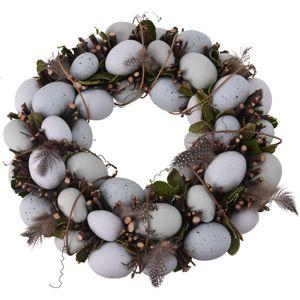 Húsvéti koszsorú tojásokkal fehér, átmérő 34 cm