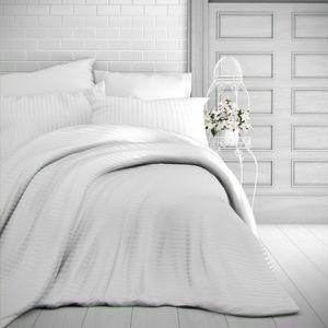 Kvalitex Stripe szatén ágynemű, fehér, 200 x 200 cm, 2 db 70 x 90 cm, 200 x 200 cm, 2 ks 70 x 90 cm