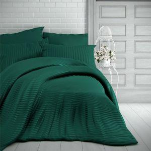 Kvalitex Stripe szatén ágynemű, sötétzöld, 200 x 200 cm, 2 db 70 x 90 cm, 200 x 200 cm, 2 ks 70 x 90 cm