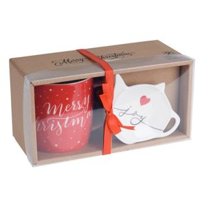 Merry Christmas karácsonyi ajándékkészlet bögrével és alátéttel, 320 ml, piros