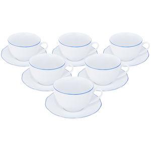 Orion porcelán csésze készlet csészealjjal, Blue Line 0,28 l, 6 db-os