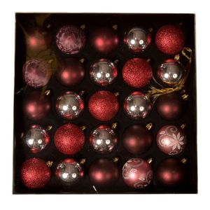 Ornate karácsonyi dísz készlet, piros, 25 db-os doboz
