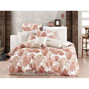 Palms Brown pamut ágynemű, 140 x 220 cm, 70 x 90 cm, 140 x 220 cm, 70 x 90 cm