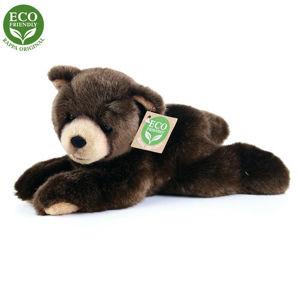 Rappa plüss fekvő medve, sötétbarna, 15 cm