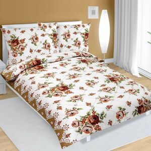 Rózsa pamut ágynemű, barna, 140 x 200 cm, 70 x 90 cm, 140 x 200 cm, 70 x 90 cm