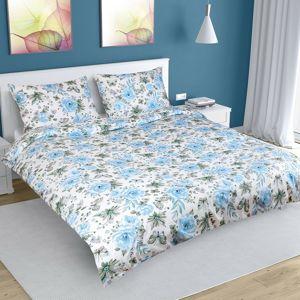 Rózsa pamut ágynemű, kék, 200 x 220 cm, 2 db 50 x 70 cm, 200 x 220 cm, 2ks 50 x 70 cm