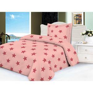Stars mikroplüss ágynemű, rózsaszín, 140 x 200 cm, 70 x 90 cm