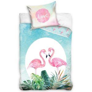 Szerelmes flamingók pamut ágynemű, 140 x 200 cm, 70 x 90 cm