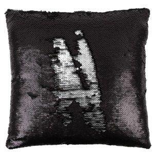 Flitteres párna, fekete és ezüst, 40 x 40 cm