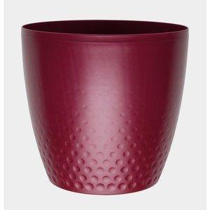 Perla műanyag kaspó, 25 cm, bordó, 25 cm átmérőjű