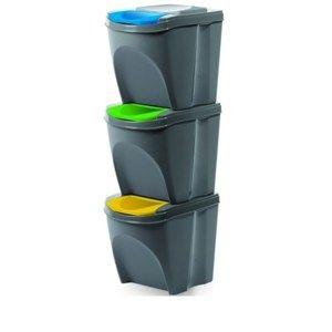 Sortibox Szelektív hulladékgyűjtő kosarak szürke, 25 l, 3 db IKWB20S3405u